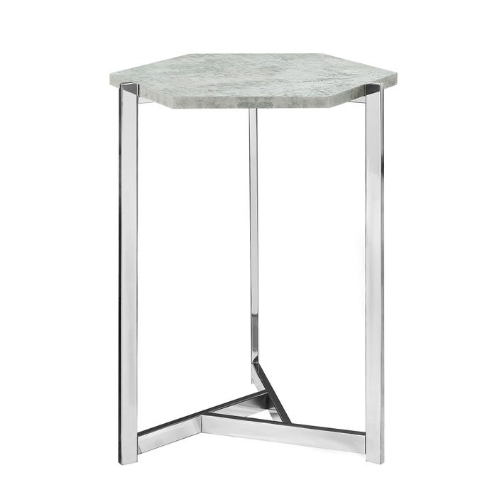 MONARCH Accent Table- HEXAGON / GREY CEMENT / CHROME METAL