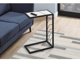 Monarch White Marble-Look Accent Table in Black I3300