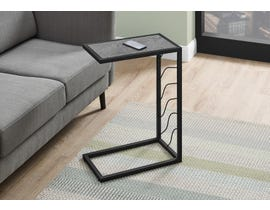 Monarch Grey Stone-Look Accent Table in Black I3301