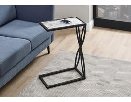 Monarch White Marble-Look Accent Table in Black I3304