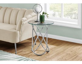 Monarch Chrome Metal Accent Table with Tempered Glass in Silver I3310