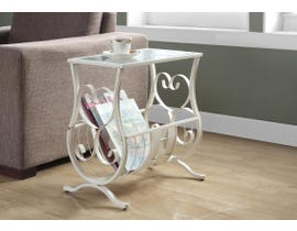 Monarch ACCENT TABLE - ANTIQUE WHITE METAL WITH TEMPERED GLASS I3312