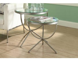 Monarch NESTING TABLE - 2PCS SET / SILVER WITH TEMPERED GLASS I3322