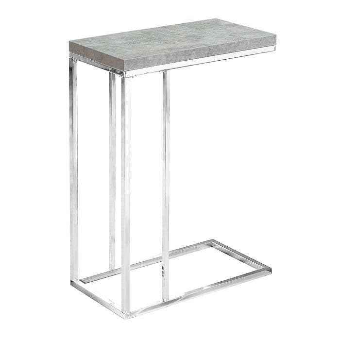 MONARCH Accent Table- GREY CEMENT WITH CHROME METAL
