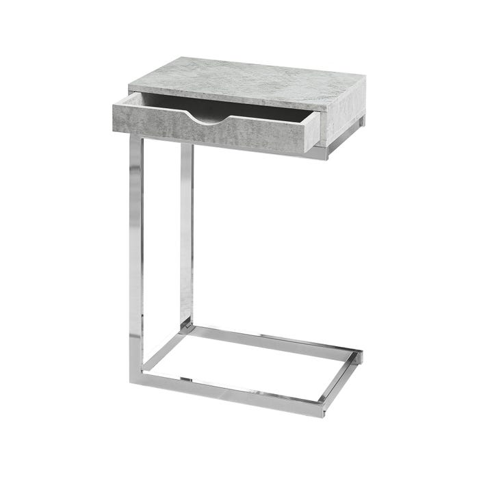 MONARCH Accent Table- CHROME METAL / GREY CEMENT WITH A DRAWER