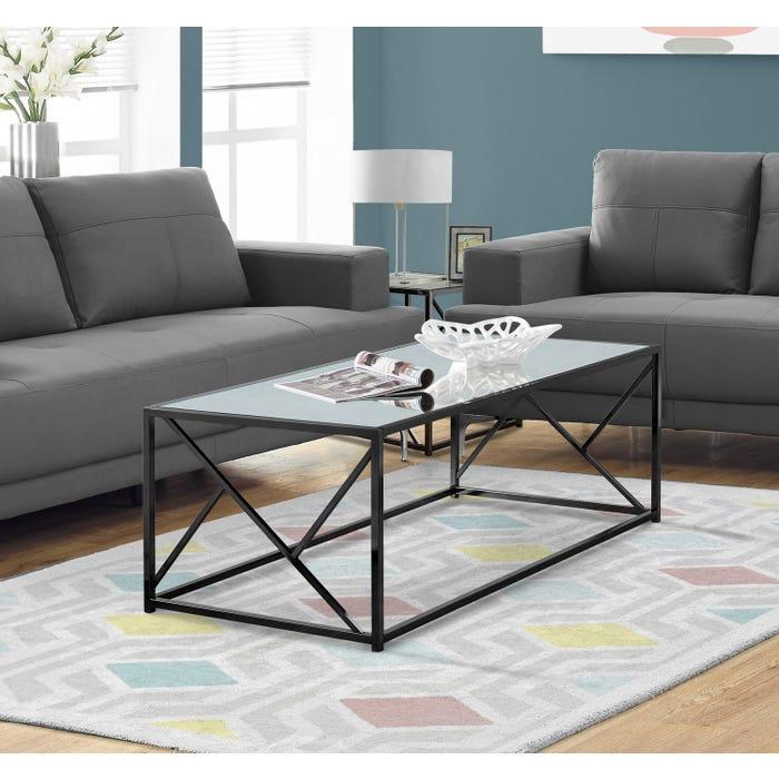 Monarch mirror top coffee table in black nickel metal I3395