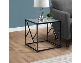Monarch mirror top metal end table in black nickel I3396