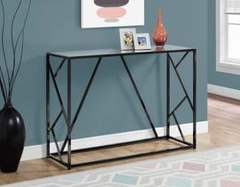 Monarch console table in black nickel metal with mirror top I3397