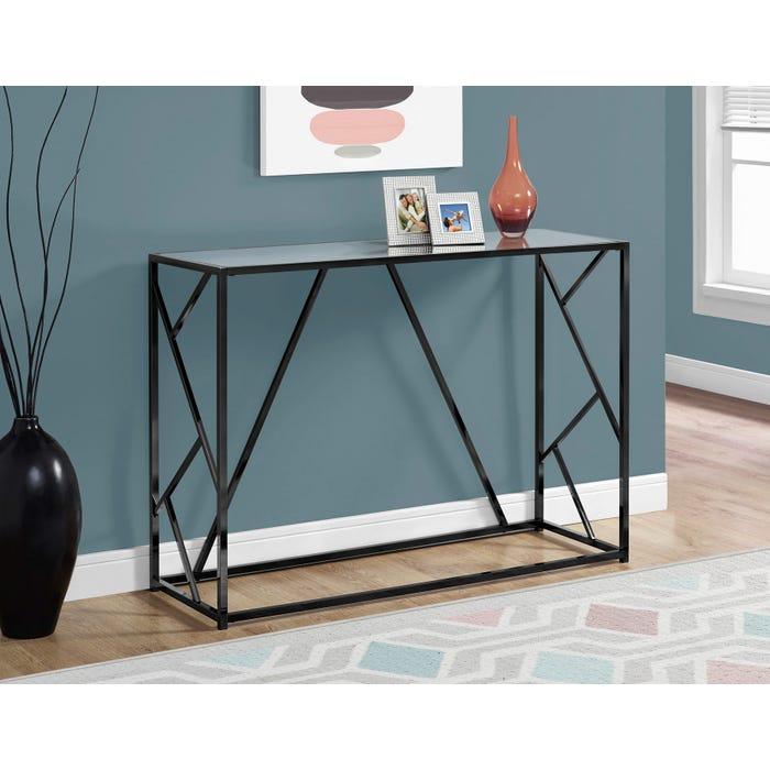 Monarch console table in black nickel metal with mirror top I3397
