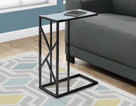 Monarch console table in black nickel metal with mirror top I3398