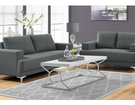 Monarch COFFEE TABLE - GLOSSY WHITE WITH Chrome METAL I3400