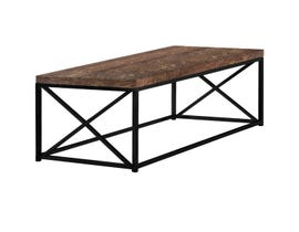 Monarch COFFEE TABLE - BROWN RECLAIMED WOOD-LOOK / BLACK METAL I3416