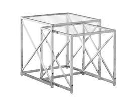 Monarch NESTING TABLE - 2PCS SET / Chrome METAL W/ TEMPERED GLASS I3441