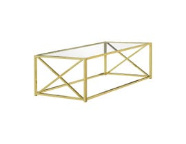 "Monarch COFFEE TABLE - 44""L / GOLD METAL WITH TEMPERED GLASS I3444"