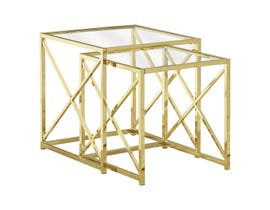 Monarch NESTING TABLE - 2PCS SET / GOLD METAL WITH TEMPERED GLASS I3445