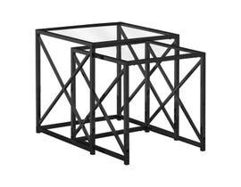 Monarch NESTING TABLE - 2PCS SET / BLACK NICKEL METAL / TEMPERED I3448
