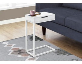 Monarch Metal Accent Table with Drawer in White I3601