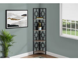 Monarch Metal Corner Etagere Bookcase in Dark Taupe I3611