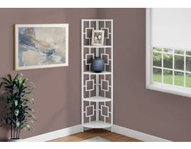 Monarch Metal Corner Etagere Bookcase in White I3613