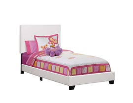 Monarch Twin Size Leather Look Bed in White I5911T