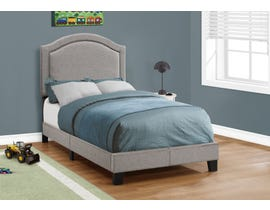 MONARCH Bed - TWIN SIZE / GREY LINEN WITH CHROME TRIM