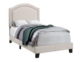MONARCH Bed - TWIN SIZE / BEIGE LINEN WITH ANTIQUE BRASS TRIM