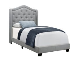 Monarch Twin Upholstered Bed in Grey Linen with Chrome Trim I5966T