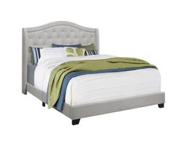 Monarch Upholstered Bed in Light Grey Velvet with Chrome Trim I5967