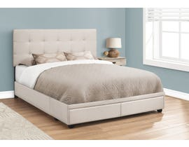 Monarch Linen Upholstered Queen Storage Bed in Beige I6021Q