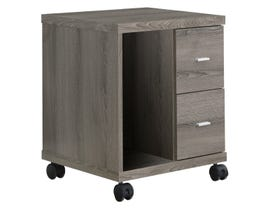 Monarch OFFICE CABINET  DARK TAUPE WITH 2 DRAWERS ON CASTORS I 7056