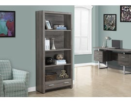 "Monarch Bookase 71""H Dark Taupe With A Storage Drawer I7087"