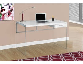 "Monarch Computer Desk 48""L Glossy White Tempered Glass I7209"