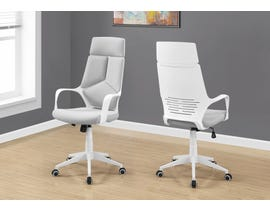 Monarch office chair in white and grey fabric with high back EXECUTIVE in I7270