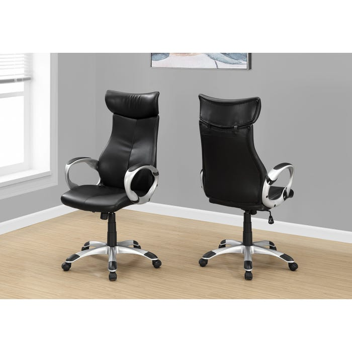 Office Chairs.Monarch Office Chair In Black Leather Look High Back Executive I7289