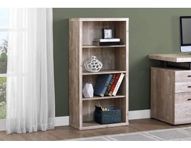 "Monarch BOOKCASE  48""H TAUPE RECLAIMED WOOD LOOK/ ADJ. SHELVES I 7406"