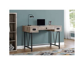 "Monarch Computer Desk 48""L Taupe Reclaimed Wood Black Metal I7414"