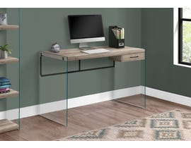 "Monarch Computer Desk 48""L Brown Reclaimed Wood Glass Panels I7444"