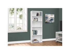 "Monarch BOOKCASE  72""H WHITE WITH 5 SHELVES I 7470"