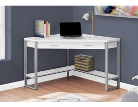 "Monarch Computer Desk 42""L White Corner Silver Metal I7500"