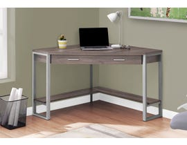 "Monarch Computer Desk  42""L Dark Taupe Corner Silver Metal I7501"