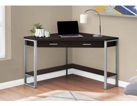 """Monarch Computer Desk 42""""L Cappuccino Corner Silver Metal I7502"""