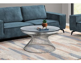 Monarch Round Coffee Table with Tempered Glass in Stainless Steel I7820