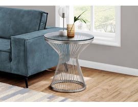 Monarch Accent Table with Tempered Glass in Stainless Steel I7821