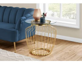 Monarch Accent Table with Tempered Glass in Gold I7826