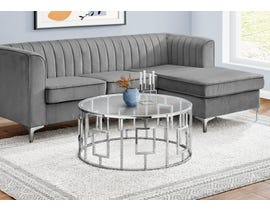 Monarch Round Coffee Table with Tempered Glass in Chrome I7830