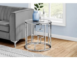 Monarch Chrome Metal Accent Table with Tempered Glass in Silver I7831