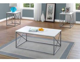 Monarch TABLE SET - 3PCS SET / WHITE / SILVER METAL I7951P