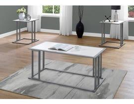 Monarch TABLE SET - 3PCS SET / WHITE / SILVER METAL I7956P
