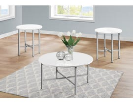 Monarch 3 Piece Table Set in Glossy White I7965P