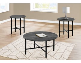 Monarch 3 Piece Table Set with Reclaimed Wood in Black I7970P